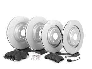 ES#2597371 - 8K0301MSLGMTKT1 - Performance Front & Rear Brake Service Kit - Featuring ECS GEOMET Slotted rotors and Hawk HPS pads - Assembled By ECS - Audi