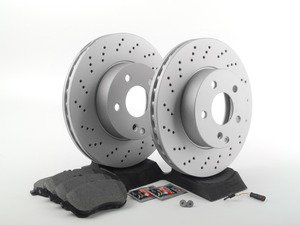 ES#2762506 - 0054201220KT2 - Front Brake Service Kit  - Featuring Meyle Rotors And Pads - Assembled By ECS - Mercedes Benz