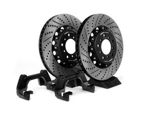 ES#2840902 - 000505ECS02KT4 - CSL Big Brake Upgrade Kit (345x28) - Upgrade to ECS 2-piece E46 M3 CSL rotors for increased brake torque and thermal capacity. Reuse your existing calipers, pads, lines, and hardware! - ECS - BMW