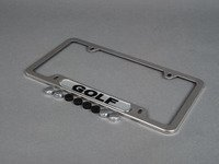 ES#2684412 - 5G0071801 - Golf License Plate Frame - Polished - Stainless steel plate frame featuring the Golf script - Genuine Volkswagen Audi - Volkswagen
