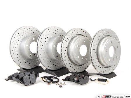 ES#2598410 - ECSE39341121-KT5 - Performance Front And Rear Brake Service Kit - Featuring ECS GEOMET cross drilled and slotted rotors and Hawk HPS 5.0 pads - Assembled By ECS - BMW