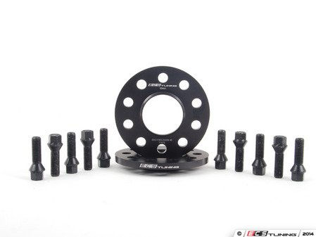 ES#2748283 - 002411ECS02AKT1 - Wheel Spacer & Bolt Kit - 10mm With Black Conical Seat Bolts - Complete kit for two wheels, comes with everything you need to install spacers on your aftermarket wheels - ECS - Audi