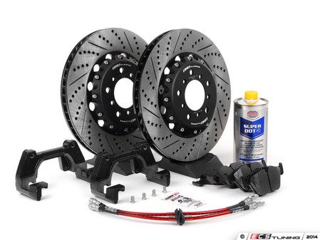 ES#2841021 - 001121ecs01KT - Front CSL Big Brake Kit Plus (345x28) - Upgrade to ECS 2-piece CSL rotors for increased brake torque and thermal capacity. Includes ECS 2-piece rotors, Exact-Fit brake lines, Hawk HPS pads, and fluid. - ECS - BMW