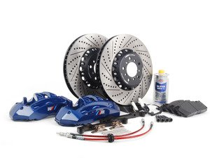 ES#2804295 - 004038ECS01KT - Front 6-Piston Big Brake Kit (382x36mm) - Upgrade to blue 6-piston F10 M5 calipers, ECS 2-piece rotors, and stainless steel brake lines. Includes fluid and all hardware. - ECS - BMW
