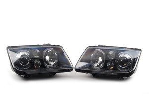ES#9587 - FKFS4013 -  Smoked Angel Eye Headlights - Pair - With fog lights, with clear turn signals - FK - Volkswagen