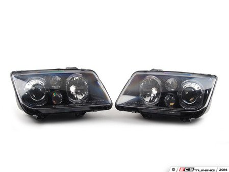 ES#9587 - FKFS4013 - Angel Eye Projector Headlight Set - Black - With fog lights, with clear turn signals - FK - Volkswagen