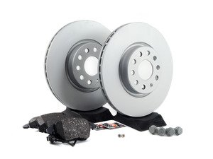 ES#2762647 - 1K0698301AAKT3 - Front Brake Service Kit (312x25) - Featuring Meyle rotors and Akebono ceramic pads - Assembled By ECS - Volkswagen