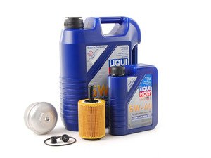 ES#2804767 - 004673ECS01KT1 -  Oil Service Kit - With Magnetic Drain Plug & Silver Aluminum Oil Filter Housing - Featuring silver billet aluminum filter housing! Includes Mann oil filter and Liqui Moly 5w-40 oil - Assembled By ECS - Volkswagen