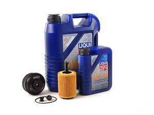 ES#2804760 - 004673ECS01KT -  Oil Service Kit - With Magnetic Drain Plug & Black Aluminum Oil Filter Housing - Featuring black billet aluminum filter housing! Includes Mann oil filter and Liqui Moly 5w-40 oil - Assembled By ECS - Volkswagen