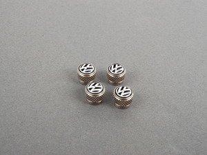 "ES#2570305 - 000071215 - Valve Stem Cap Set - Brass - ""VW"" in black/silver, Set of four - Genuine Volkswagen Audi - Volkswagen"