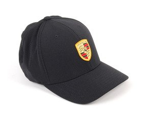 ES#3360970 - WAP5900010J - Porsche Crest Baseball Cap  - Flex-Fit cap - Black with colored crest - Genuine Porsche - Porsche