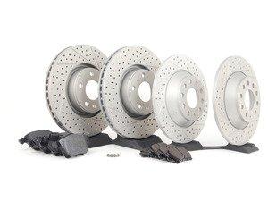 ES#2765920 - 4f0615301ekt01 - Performance Front & Rear Brake Service Kit - Featuring ECS GEOMET Drilled & Slotted rotors and Hawk HPS pads - Assembled By ECS - Audi