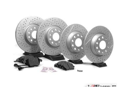 ES#2594013 - 1K0301AAXSKT3 - Performance Front & Rear Brake Service Kit - Featuring ECS GEOMET Drilled & Slotted rotors and Hawk HPS pads - Assembled By ECS - Audi