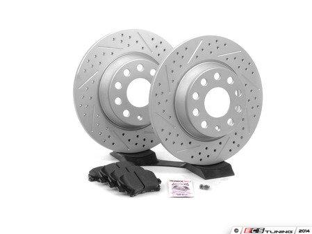ES#2593929 - 1K0601MXSKT2 - Performance Rear Brake Service Kit - Featuring ECS GEOMET Drilled & Slotted rotors and Hawk HPS pads - Assembled By ECS - Audi