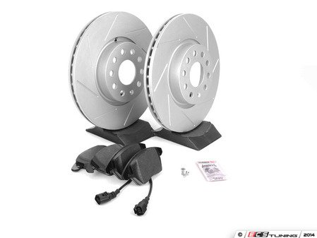 ES#2593925 - 1K0301AASLTKT - Performance Front Brake Service Kit - Featuring ECS GEOMET Slotted rotors and Hawk HPS pads - Assembled By ECS - Audi