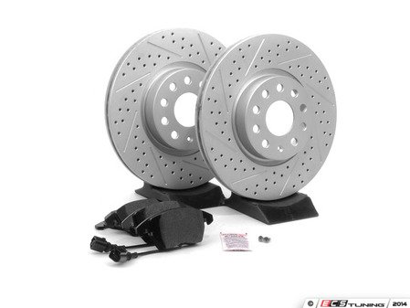 ES#2593923 - 1K0301AAXSKT - Performance Front Brake Service Kit - Featuring ECS GEOMET Drilled & Slotted rotors and Hawk HPS pads - Assembled By ECS - Audi
