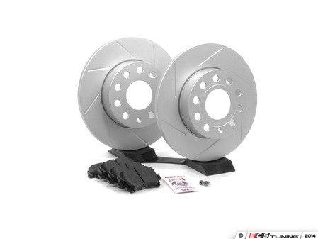 ES#2593937 - 1K0601LSLTKT - Performance Rear Brake Service Kit - Featuring ECS GEOMET Slotted rotors and Hawk HPS pads - Assembled By ECS - Audi