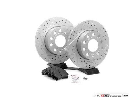 ES#2593936 - 1K0601LXSKT2 - Performance Rear Brake Service Kit - Featuring ECS GEOMET Drilled & Slotted rotors and Hawk HPS pads - Assembled By ECS - Audi