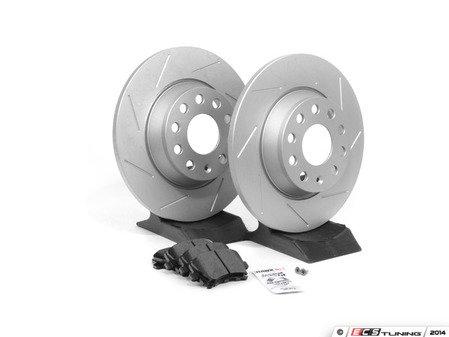 ES#2593930 - 1K0601MSLTKT - Performance Rear Brake Service Kit - Featuring ECS GEOMET Slotted rotors and Hawk HPS pads - Assembled By ECS - Audi
