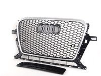 ES#2784454 - 007658ECS01 -  RS Mesh Style Grille - Black Mesh With Silver Frame - Add a sleek new look to your front end with this silver  black mesh grille. - ECS - Audi