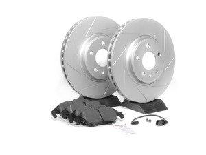 ES#2594111 - 8K0615301ASLTKT1 - Performance Front Brake Service Kit - Featuring ECS GEOMET Slotted rotors and Hawk HPS pads - Assembled By ECS - Audi