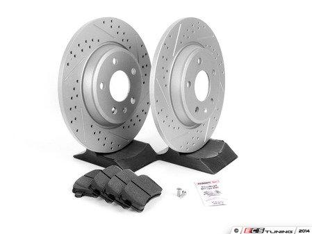 ES#2594115 - 8K0615601BXSKT - Performance Rear Brake Service Kit - Featuring ECS GEOMET Drilled & Slotted rotors and Hawk HPS pads - Assembled By ECS - Audi