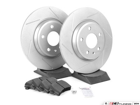 ES#2594117 - 8K0615601BSLTKT - Performance Rear Brake Service Kit - Featuring ECS GEOMET Slotted rotors and Hawk HPS pads - Assembled By ECS - Audi