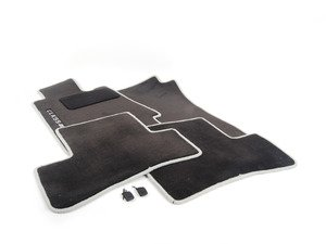 ES#1827790 - Q6680478 - Carpeted Floor Mat Set - Charcoal Center with Grey Piping - Genuine Mercedes Benz - Mercedes Benz