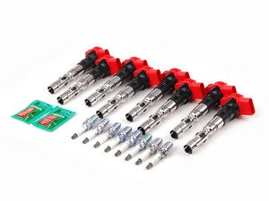 ES#2532305 - BKR6EQUAKT - Ignition Service Kit - Includes eight red genuine coil packs and eight NGK spark plugs - Assembled By ECS - Audi