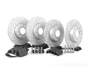 ES#2725360 - 1K0698601AHWKKT - Performance Front & Rear Brake Service Kit (288x25/272x10) - Featuring ECS GEOMET cross-drilled & slotted rotors and Hawk HPS pads - Assembled By ECS - Volkswagen
