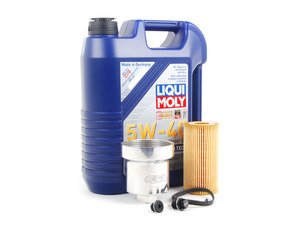 ES#2730487 - 003602ECS03AKT -  Oil Service Kit - With Magnetic Drain Plug & Polished Aluminum Oil Filter Housing - Includes Liqui Moly oil, Mann filter, magnetic drain plug, and aluminum filter housing - Assembled By ECS - Audi Volkswagen