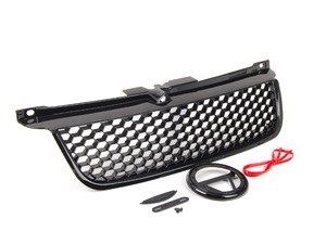 ES#2807112 - GR-VWJ4-RS - Badgeless Grille - Honeycomb Mesh - Includes badge holder, adhesive red accent strip, and notch filler - ECS - Volkswagen