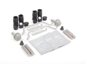 ES#2593646 - 34111163645KT - Front Pad And Rotor Installation Kit - Includes everything to install new front brakes including guide bolts and bushings - Genuine BMW - BMW