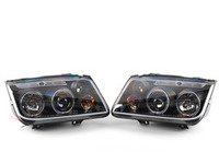 ES#2806891 - 444-VJ99-HL-BK - Angel Eye Projector Headlight Set - Black - With fog lights, with LED halo rings - Spyder - Volkswagen