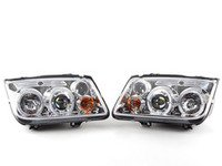 ES#2806890 - 444-VJ99-HL-C - Chrome Projector Headlights - Pair - With fog lights, with LED halo rings - Spyder - Volkswagen