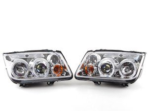 ES#3184080 - 5012265  - Angel Eye Projector Headlight Set - Chrome - With fog lights, with LED halo rings - Spyder - Volkswagen