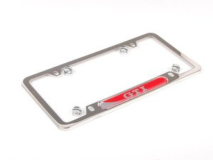 ES#2684219 - 5GV071801 - GTI License Plate Frame - Polished - Stainless steel plate frame featuring the GTI script - Genuine Volkswagen Audi - Volkswagen