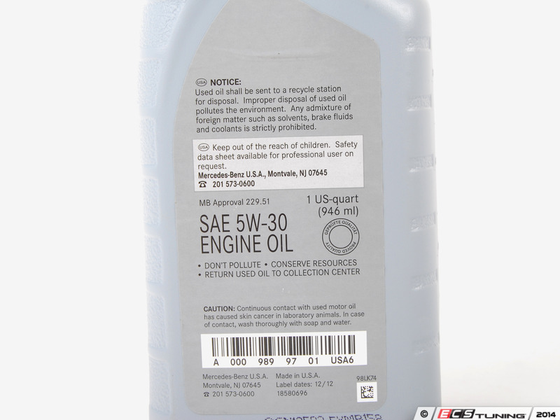 Genuine mercedes benz 0009899701usa6 5w 30 full for Mercedes benz engine oil specifications