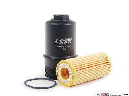ES#2817035 - 06K115562KT5 - Black Billet aluminum Oil filter housing - with filter - Hengst filter and black anodized billet aluminum filter housing - Assembled By ECS - Audi Volkswagen