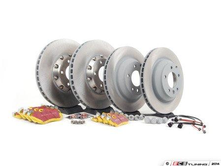 ES#2602322 - 95535140161PEKT - Performance Front & Rear Brake Service Kit - Featuring genuine Porsche rotors and EBC YellowStuff brake pads - Assembled By ECS - Porsche