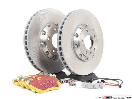 ES#2602320 - 95535140161FPKT - Performance Front Brake Service Kit - Featuring genuine Porsche rotors and EBC YellowStuff brake pads - Assembled By ECS - Porsche
