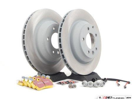 ES#2602339 - 95535240151RPKT - Performance Rear Brake Service Kit - Featuring genuine Porsche rotors and EBC YellowStuff brake pads - Assembled By ECS - Porsche