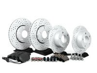 ES#2587594 - D1427DKT2 - Performance Front & Rear Brake Service Kit - ECS Drilled & Slotted GEOMET Rotors with Vaico Pads - Assembled By ECS - Volkswagen