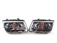 ES#2612387 - 1J5698001BG - Chrome European HID Replica Headlights - Pair - Without fog lights, with amber turn signals - Helix - Volkswagen