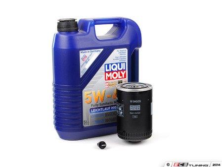 ES#2817104 - 2332kt -  Premium Oil Service Kit - With ECS Magnetic Drain Plug - Includes large Mann oil filter and Liqui-Moly High Tech 5w-40 oil - Assembled By ECS - Audi