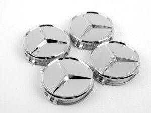 ES#2749199 - 66470206KT - Chrome Mercedes Star Center Cap - Set Of Four - Clip-In Silver Center Cap With Chrome Three-Pointed Star - Genuine Mercedes Benz - Mercedes Benz