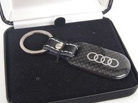 ES#2697586 - ZAW087610 - Carbon Fiber Key Holder - Black carbon fiber with Audi ring logo - Genuine Volkswagen Audi - Audi