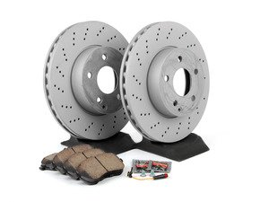 ES#2762504 - 0054201220KT1 - Front Brake Service Kit  - Featuring Zimmermann Rotors And Akebono-Euro Ceramic Pads - Assembled By ECS - Mercedes Benz
