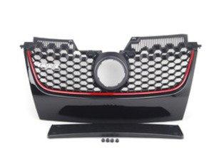 ES#2102438 - 1K0853651H - Honeycomb Grille - With GTI Badge - Black with red strip, includes European plate bracket - Bremmen Parts - Volkswagen