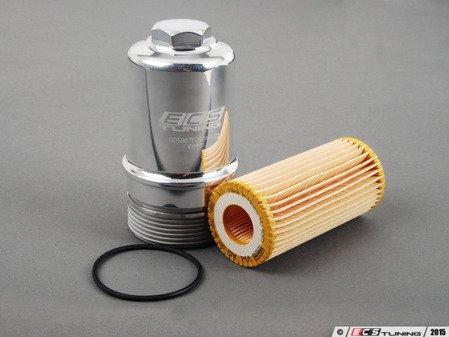 ES#2823207 - 06K115562KT7 - Polished Billet aluminum Oil filter housing - with filter - Genuine filter and black anodized billet aluminum filter housing - Assembled By ECS - Audi Volkswagen